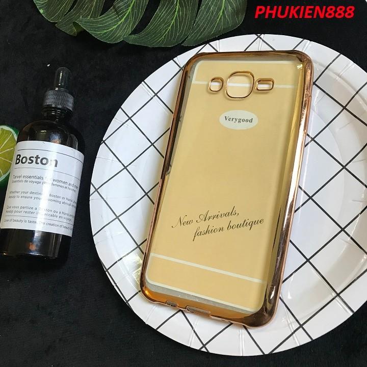 Ốp lưng Samsung Galaxy J7 silicone dẻo trong suốt viền vàng