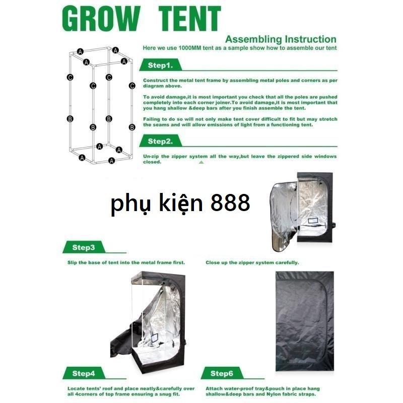 Lều trồng cây, lều trồng nấm vải 600D, 60x60x140